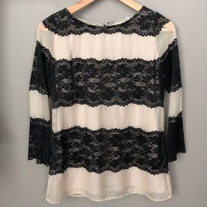 Tops - Black Lace Top Blouse Anthropologie Style